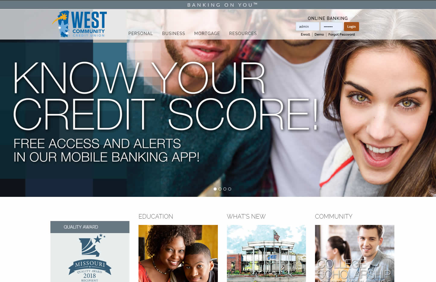 west community credit union web design
